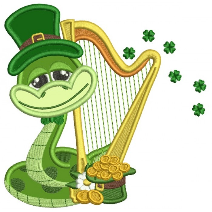 Lucky Snake Wearing Playing Harp St. Patrick's Applique Machine Embroidery Design Digitized Pattern