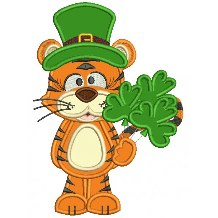 Lucky Tiger Holding Shamrock Bouquet St. Patrick's Applique Machine Embroidery Design Digitized Pattern