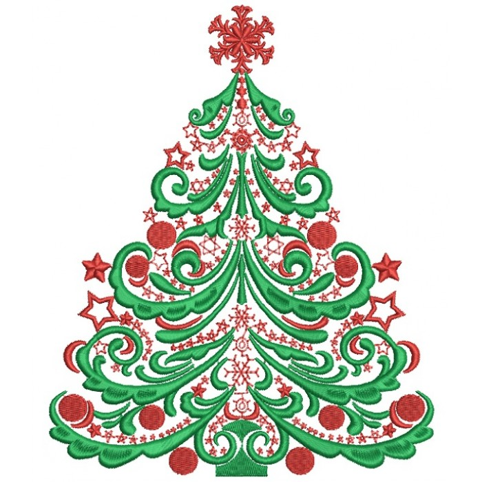 Majestic Christmas.Majestic Christmas Tree With Fancy Star Filled Machine Embroidery Design Digitized Pattern