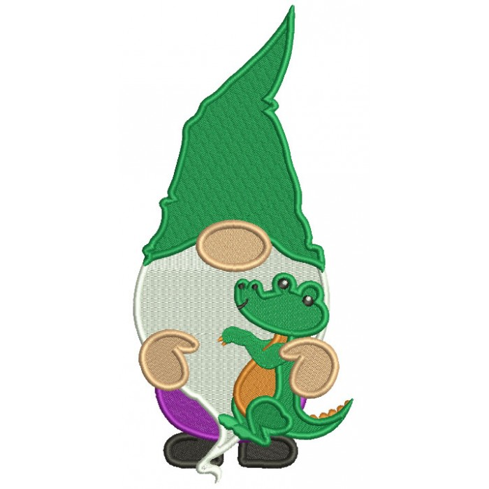 Mardi Gras Gnome Holding Alligator Filled Machine Embroidery Design Digitized Pattern