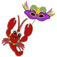 Mardi Gras Lobster Holding The Mask Applique Machine Embroidery Design Digitized Pattern