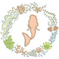 Mermaid Inside Ornamental Sea Themed Frame Applique Machine Embroidery Design Digitized Pattern
