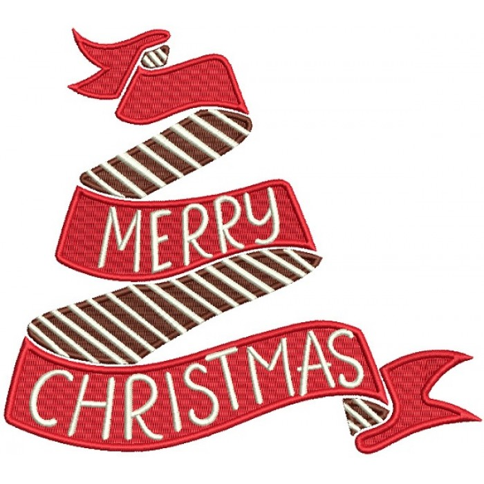 Merry Christmas Ribbon For Presents Filled Machine Embroidery Design Digitized Pattern