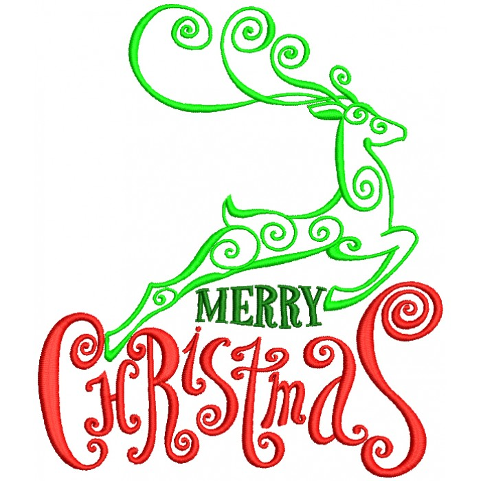Merry Christmas Santa's Reindeer Outline Filled Machine Embroidery Design Digitized Pattern