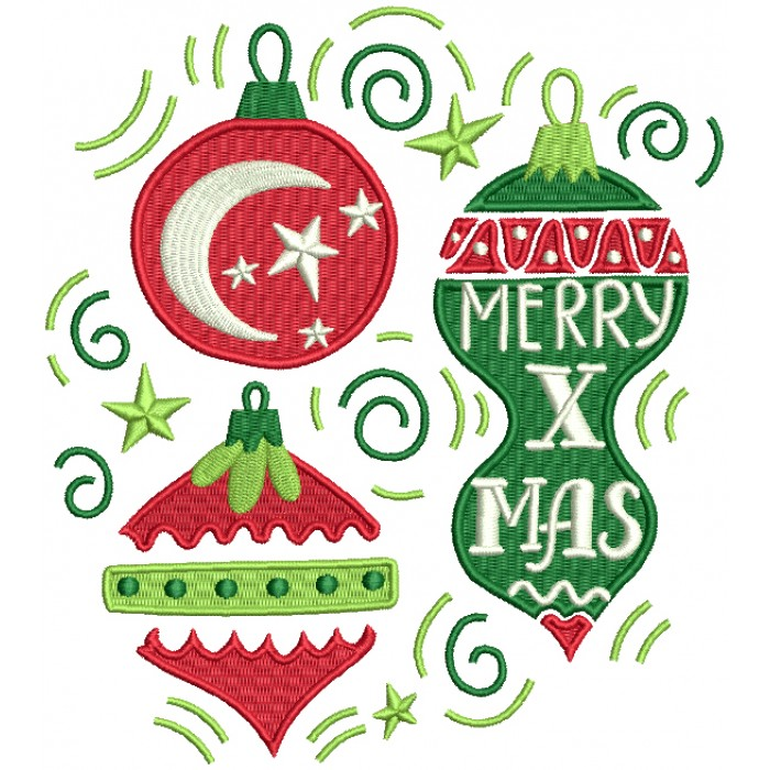 Merry X Mas Moon And Stars Christmas Ornaments Filled Machine Embroidery Design Digitized Pattern
