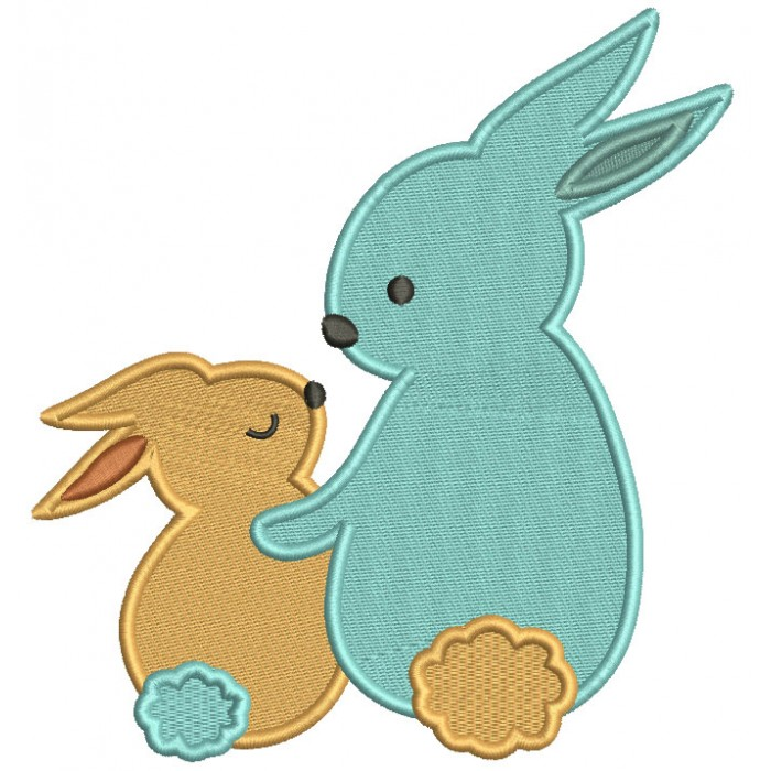 Mommy And Baby Bunnies Mother's Day Filled Machine Embroidery Design Digitized Pattern