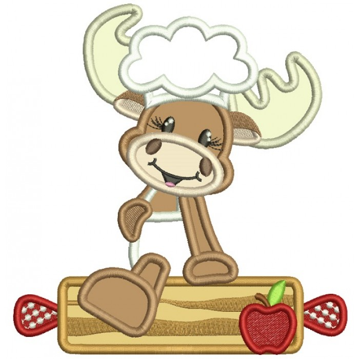 Moose Cook With a Rolling Pin Applique Machine Embroidery Design Digitized Pattern