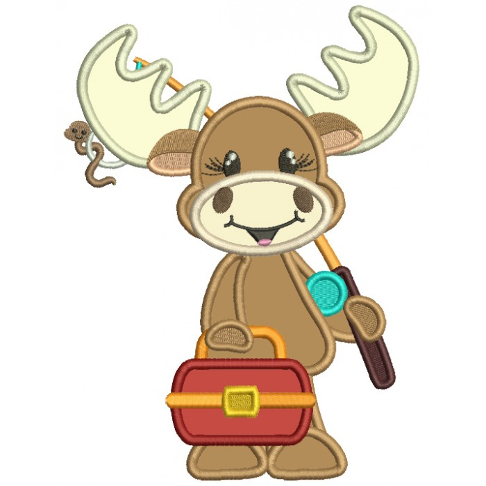 Moose Going Fishing Applique Machine Embroidery Design Digitized Pattern