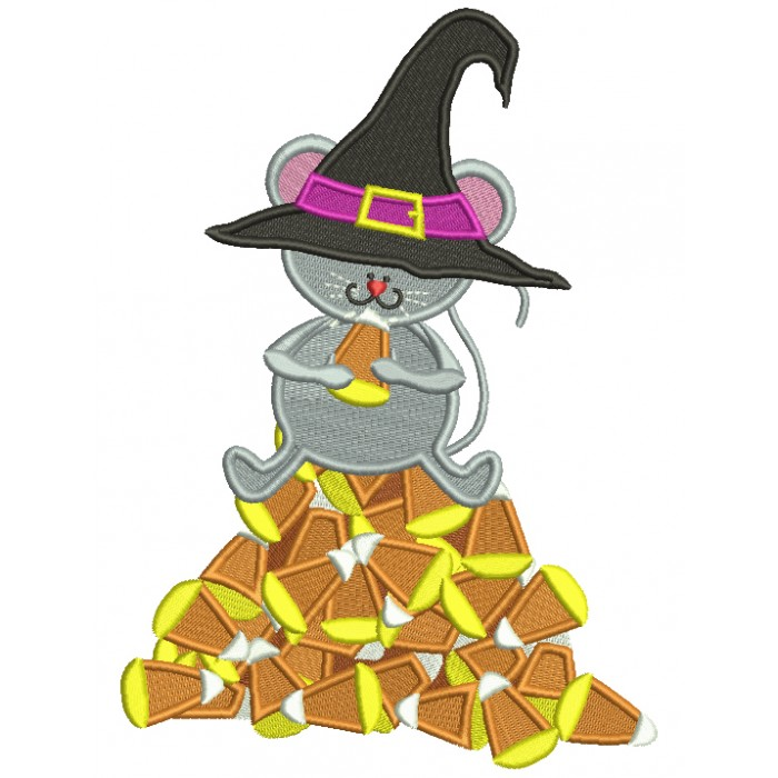 Mouse Witch Sitting On Candy Corns Halloween Filled Machine