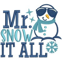 Mr Snow It All Snowman Christmas Applique Machine Embroidery Design Digitized Pattern