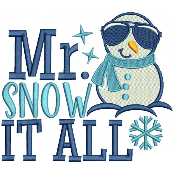 Mr Snow It All Snowman Christmas Filled Machine Embroidery Design Digitized Pattern