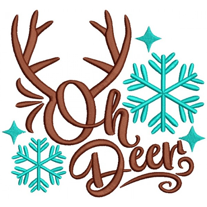 Oh Deer Snow Flakes Christmas Filled Machine Embroidery Design Digitized Pattern