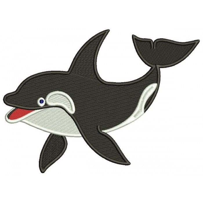Orca The killer whale Filled Machine Embroidery Digitized Design Pattern
