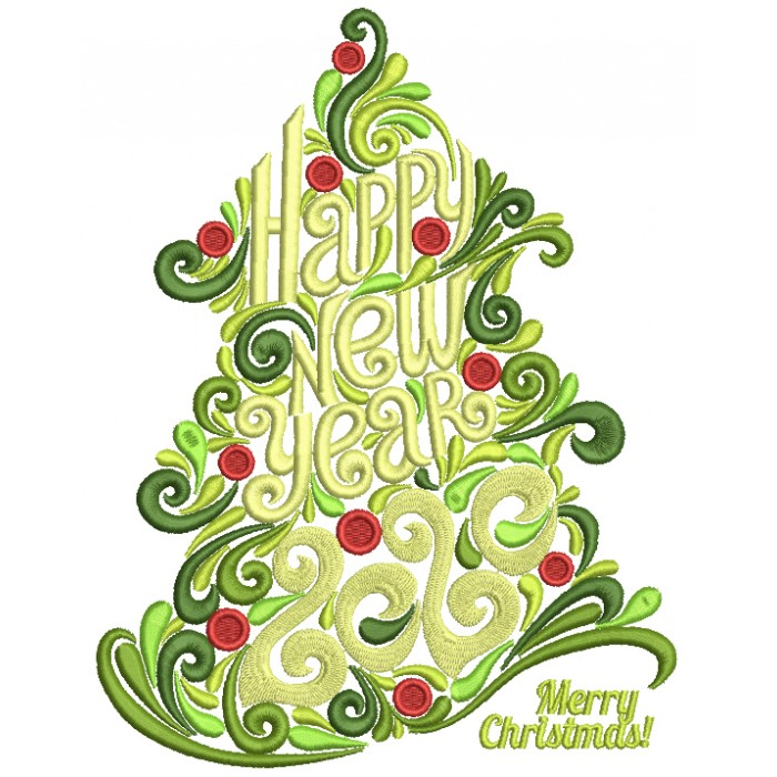 Ornate Christmas Tree Happy New Year 2020 Filled Machine Embroidery Design Digitized Pattern
