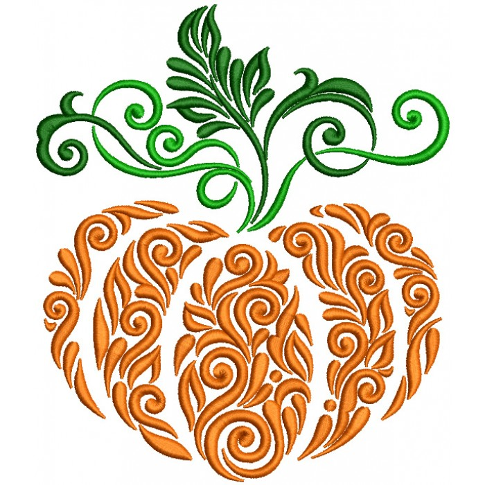 Ornate Floral Pumpkin Filled Machine Embroidery Design Digitized Pattern