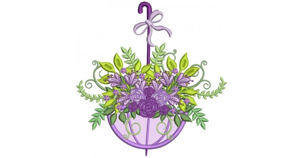 Ornate flowers inside umbrella applique machine embroidery design