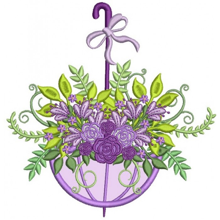 Ornate Flowers Inside Umbrella Applique Machine Embroidery Design Digitized Pattern