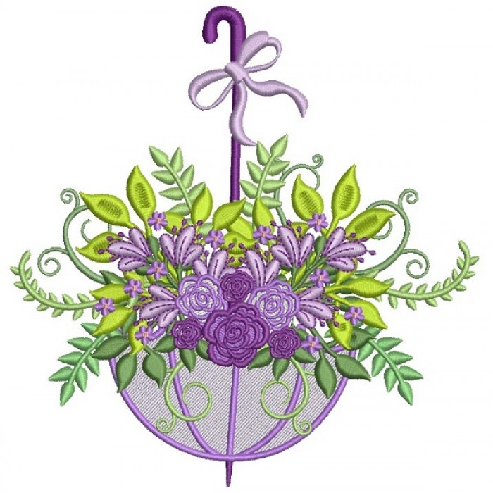 Ornate Flowers Inside Umbrella Filled Machine Embroidery Design Digitized Pattern