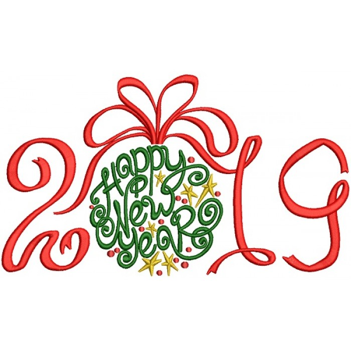 Ornate Happy New Year 2019 Filled Machine Embroidery Design Digitized Pattern