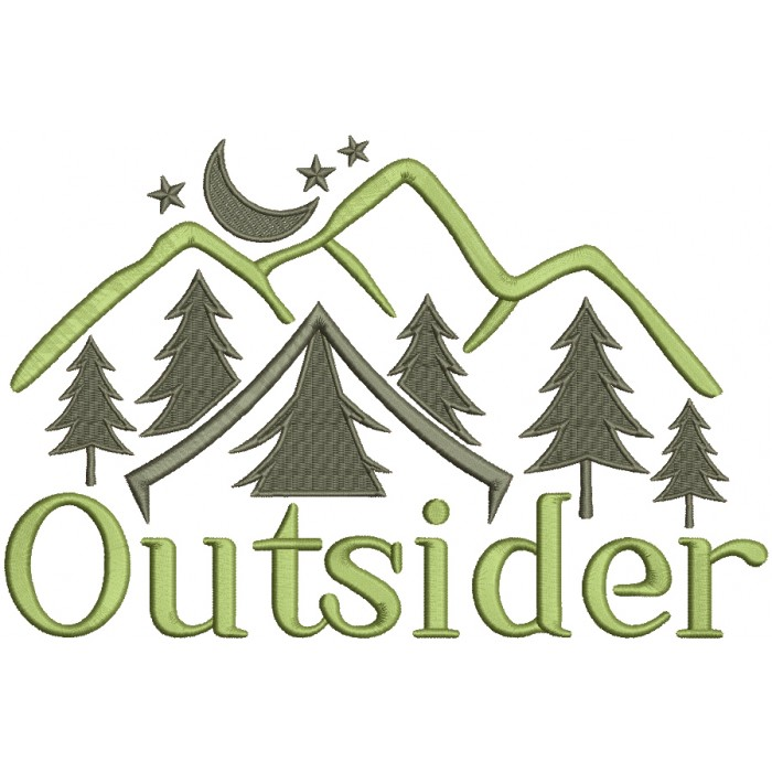 Outsider Mountains And Trees Filled Machine Embroidery Design Digitized Pattern