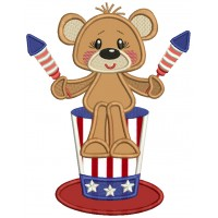 Patriotic Bear Holding Fire Crackers 4th Of July Independence Day Applique Machine Embroidery Design Digitized Pattern