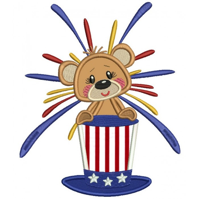 Patriotic Bear Holding Independence Day American Hat Applique Machine Embroidery Design Digitized Pattern