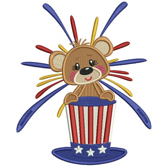 Patriotic Bear Holding Independence Day American Hat Filled Machine Embroidery Design Digitized Pattern