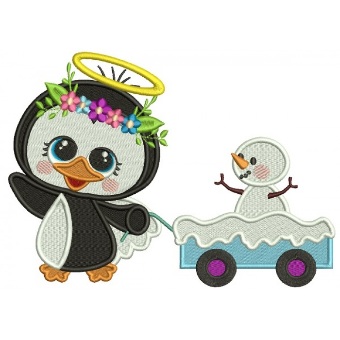 Penguin Angel Pulling Wagon With Snowman Filled Christmas Machine Embroidery Design Digitized Pattern