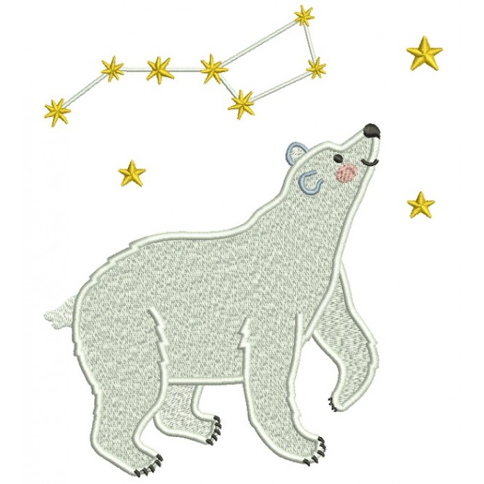 Polar Bear Big Dipper Constellation Filled Machine Embroidery Design Digitized Pattern