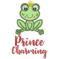 Prince Charming Cute Little Froggy Applique Machine Embroidery Design Digitized Pattern