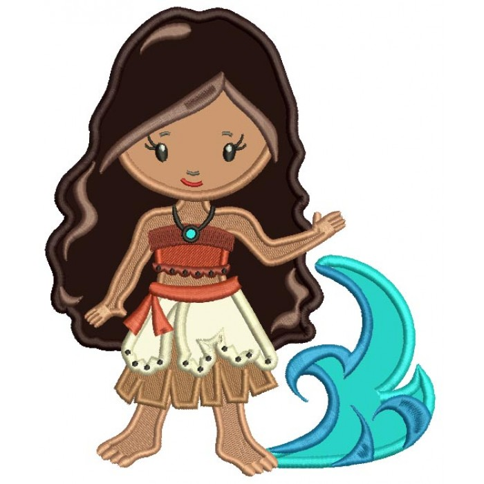 Princess Of The Sea Looks Like Moana Applique Machine Embroidery Design Digitized Pattern