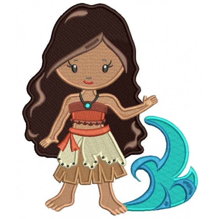 Princess Of The Sea Looks Like Moana Filled Machine Embroidery Design Digitized Pattern