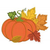 Pumpkin and Fall Leaves Arrangements Applique Machine Embroidery Design Digitized Pattern