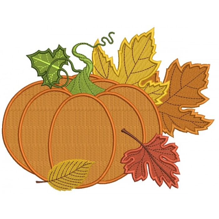 Pumpkin and Fall Leaves Arrangements Filled Machine Embroidery Design Digitized Pattern