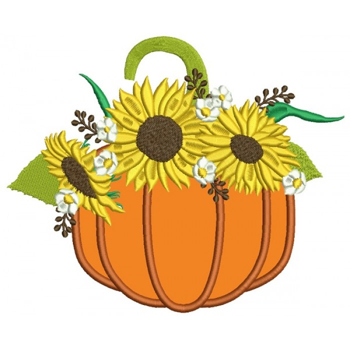 Pumpkins With Sunflowers Thanksgiving Applique Machine Embroidery Design Digitized Pattern