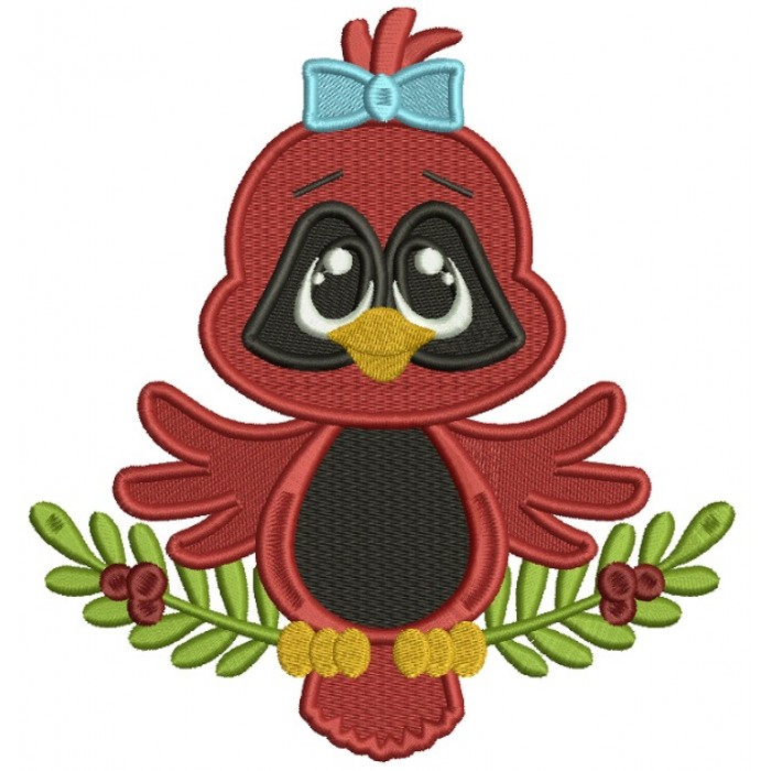 Red Robin Baby Girl Christmas Filled Machine Embroidery Design Digitized Pattern