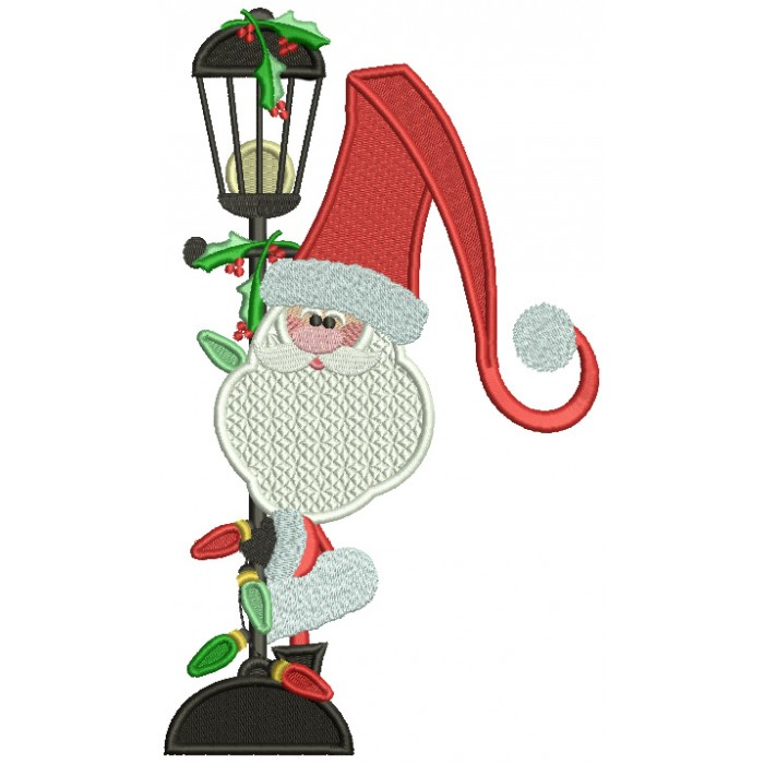Santa Next To Street Light Christmas Filled Machine Embroidery Design Digitized Pattern