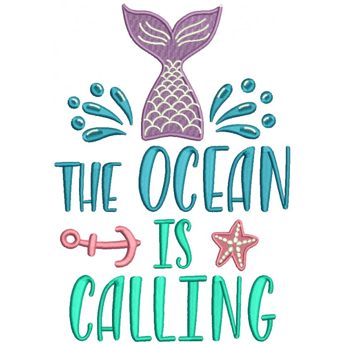 The Ocean Is Calling Mermaid Filled Machine Embroidery Design Digitized Pattern