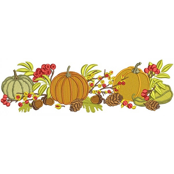 Three Pumpkins Acorns and Leaves Fall Filled Thanksgiving Machine Embroidery Design Digitized Pattern