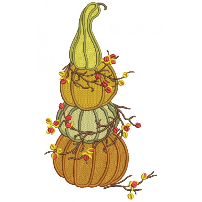 Three Pumpkins Stacked One On To Of The Other Thanksgiving Filled Machine Embroidery Design Digitized Pattern