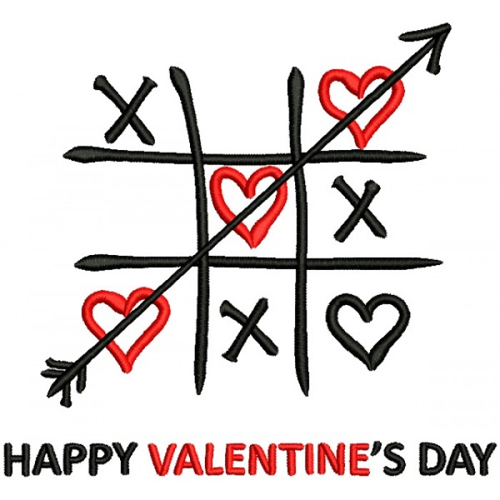 TicTac Toe Happy Valentines Day Filled Machine Embroidery Design Digitized Pattern