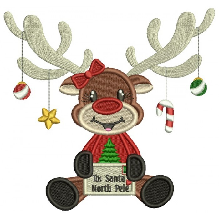 To Santa North Pole Cute Moose Christmas Filled Machine Embroidery Design Digitized Pattern
