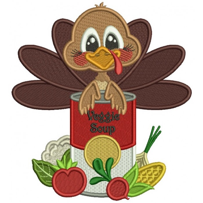 Turkey Holding Can Of Veggie Soup Thanksgiving Filled Machine Embroidery Design Digitized Pattern