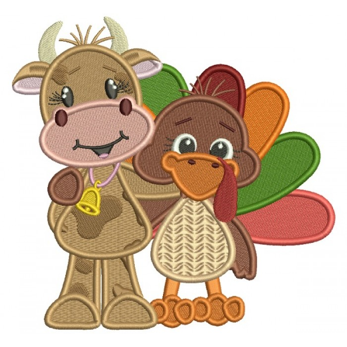 Turkey Hugging A Cow Filled Machine Embroidery Design Digitized Pattern