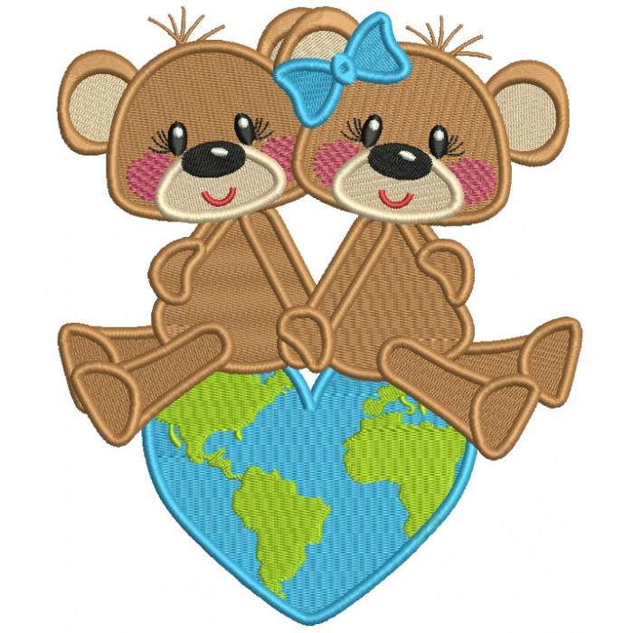 Two Cute Bears Sitting On Top Of The World Filled Machine Embroidery Design Digitized Pattern