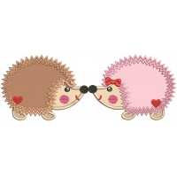 Two Hedgehogs In Love Applique Machine Embroidery Design Digitized Pattern