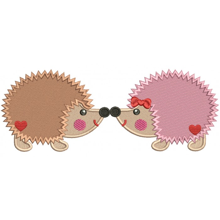 Two Hedgehogs In Love Filled Machine Embroidery Design Digitized Pattern