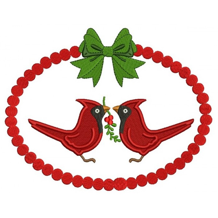 Two Red Robins Holding a Branch Christmas Filled Machine Embroidery Design Digitized Pattern