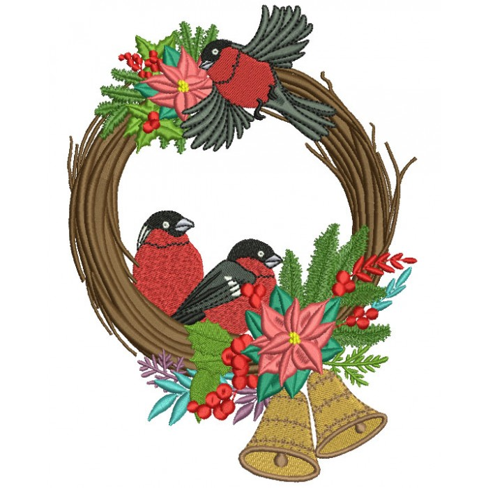 Two Red Robins Sitting Inside Christmas Wreath With Bells Filled Machine Embroidery Design Digitized Pattern
