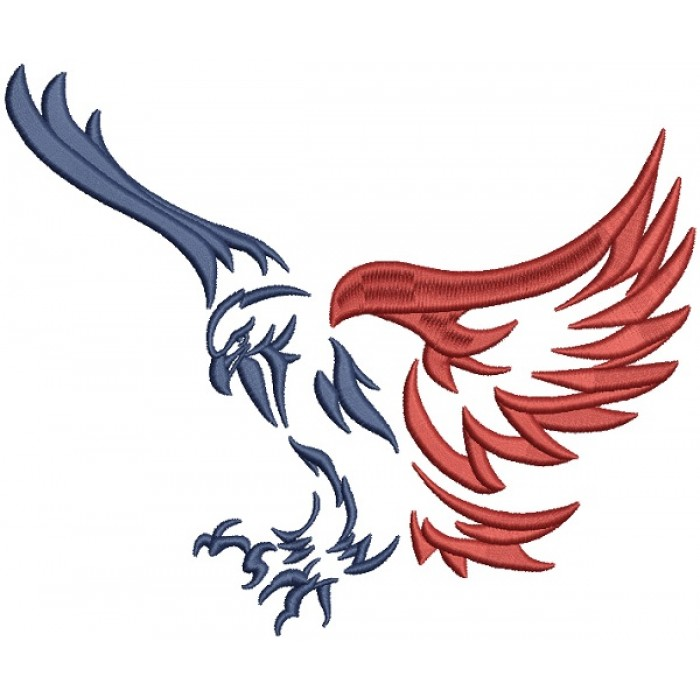 USA Eagle Patriotic Filled Machine Embroidery Design Digitized Pattern